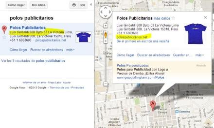 Polos Publicitarios en Google Maps